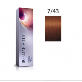 Wella Professionals Tinte Illumina Color 7/43 Rubio Medio Cobre Dorado 60ML